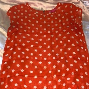 Small Orange & white polka dot blouse